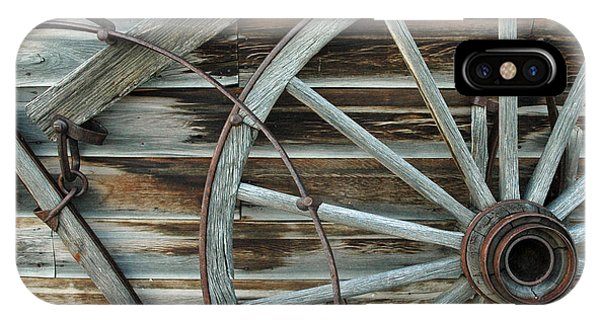 Old Wagon Wheel In Nevada City Montana IPhone Case