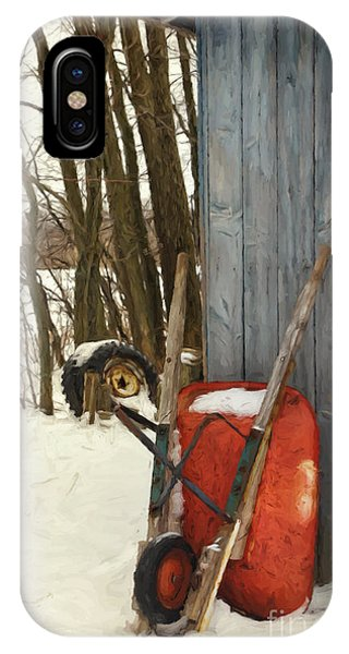 Old Wheelbarrow Leaning Against Barn/ Digital Painting IPhone Case