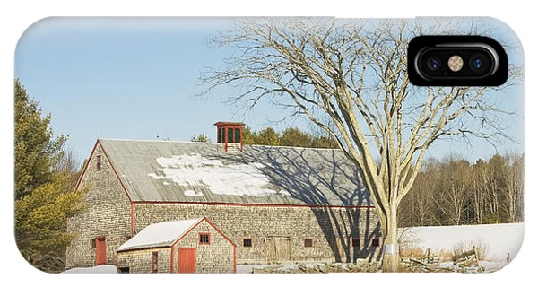 Old Wood Shingled Barn In Winter Maine IPhone Case