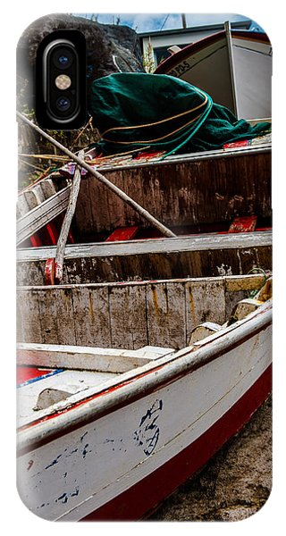 Old Wooden Fishing Boat On Dock  IPhone Case
