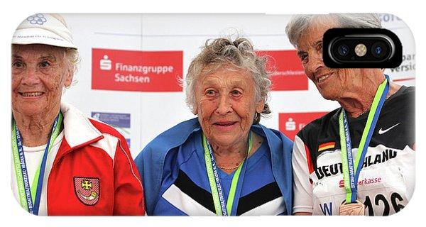 Older Female Athletes On Medals Rostrum Phone Case by Alex Rotas