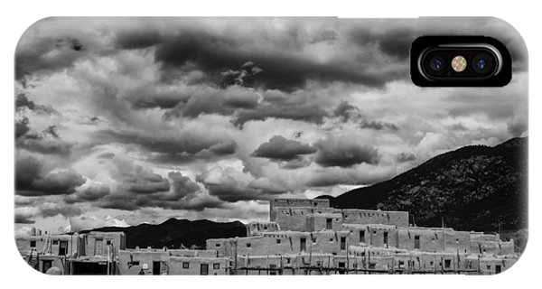 Sangre De Cristo iPhone Case - Ominous Clouds Over Taos Pueblo by Silvio Ligutti