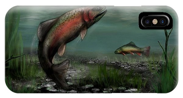 On The Attack - Rainbow Trout After A Fly IPhone Case