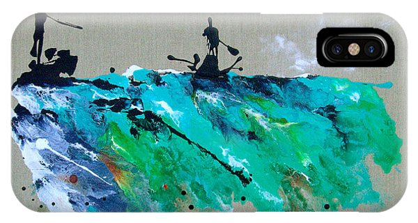 iPhone Case - On The River Sports Art Abstract Art by Catherine Jeltes