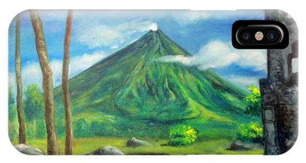 On The Spot Painting Of Mayon In Cagsawa Phone Case by Manuel Cadag