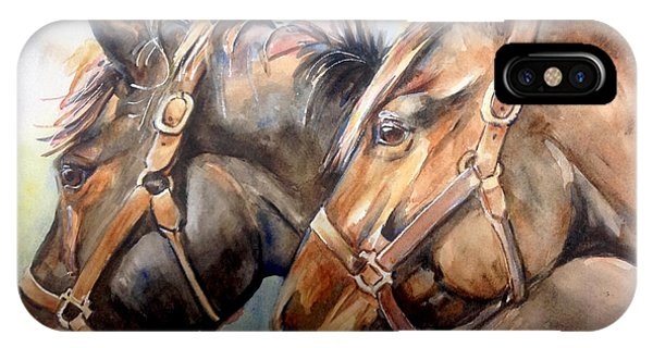 iPhone Case - Horse In Watercolor On Watch by Maria Reichert
