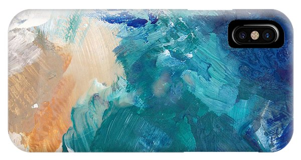 Aqua iPhone Case - On A Summer Breeze- Contemporary Abstract Art by Linda Woods