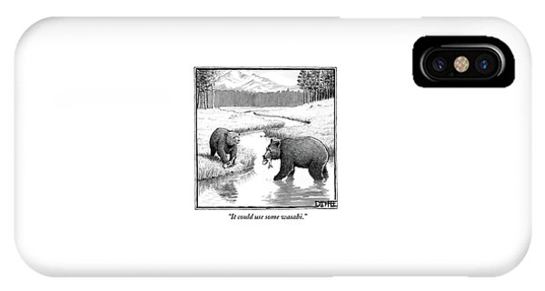 One Bear Speaks To Another As They Catch Fish IPhone Case
