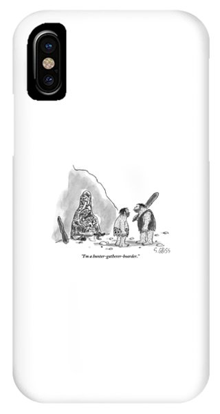 Bone iPhone Case - One Caveman Shows Off His Cave Full Of Bones by Sam Gross