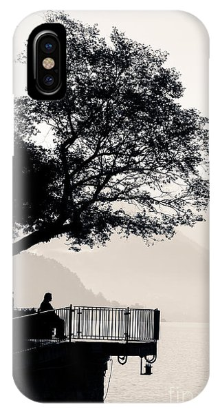 One Old Man Sitting In Shade Of Tree Overlooking Lake Como IPhone Case