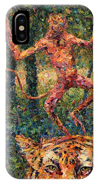 Nature Abstract iPhone Case - Only A Crazy Monkey Dances On A Tiger's Head by James W Johnson