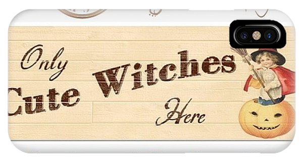 Holiday iPhone Case - Only Cute Witches Here #ontheblog by Teresa Mucha