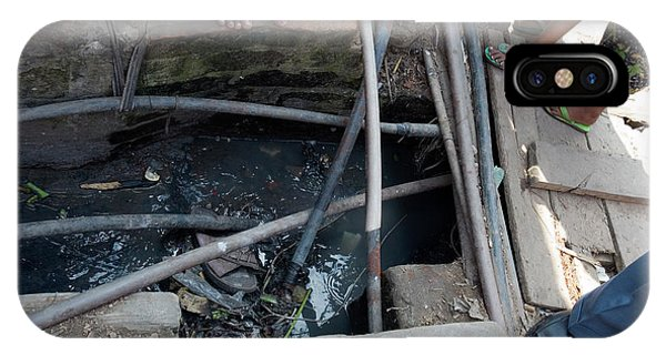 Drain iPhone Case - Open Sewer by Adam Hart-davis/science Photo Library