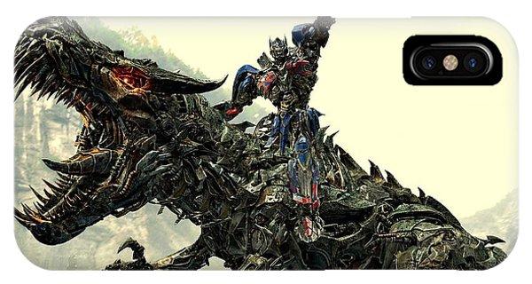 Optimus Prime Riding Grimlock IPhone Case