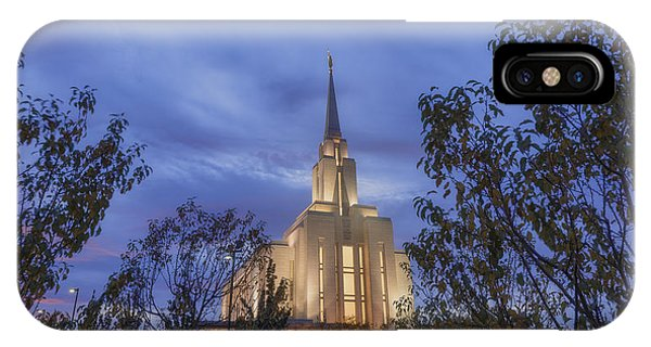 Temple iPhone Case - Oquirrh Mountain Temple II by Chad Dutson