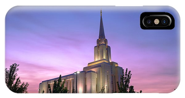 Temple iPhone Case - Oquirrh Mountain Temple Iv by Chad Dutson