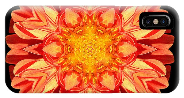 Orange Dahlia Flower Mandala IPhone Case