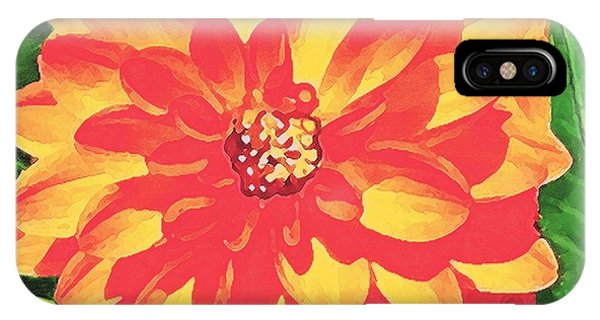 Orange Dahlia IPhone Case