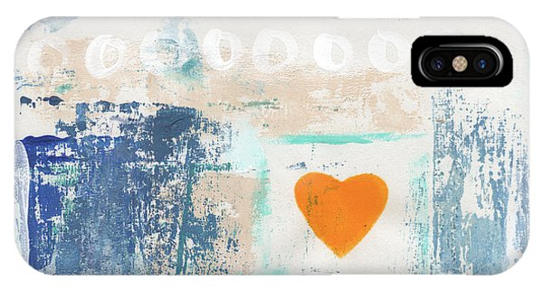 Love iPhone Case - Orange Heart- Abstract Painting by Linda Woods