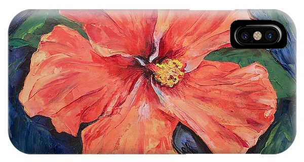 Hibiscus Flower iPhone Case - Orange Hibiscus by Michael Creese