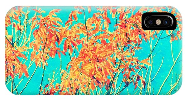 Orange Leaves And Turquoise Sky  IPhone Case