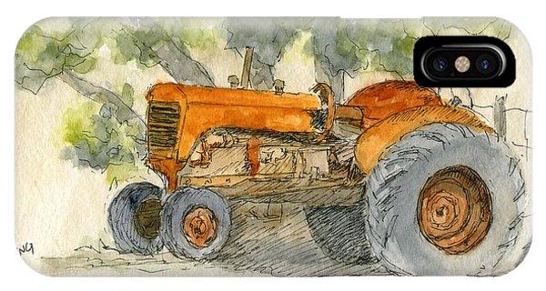 Orange Tractor IPhone Case