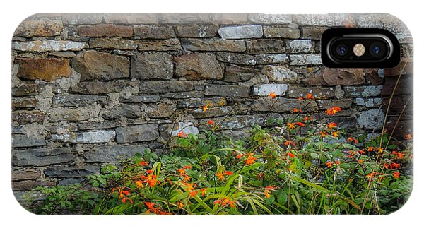 Orange Wildflowers Against Stone Wall IPhone Case