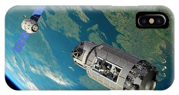 Earth Orbit iPhone Case - Orbital Maintenance Docking by Walter Myers