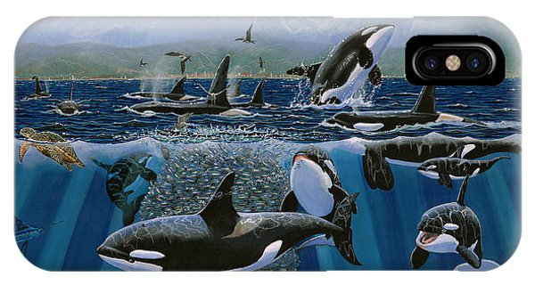 Whales iPhone Case - Orca Play Re009 by Carey Chen