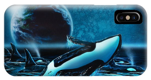 Orcas At Night IPhone Case