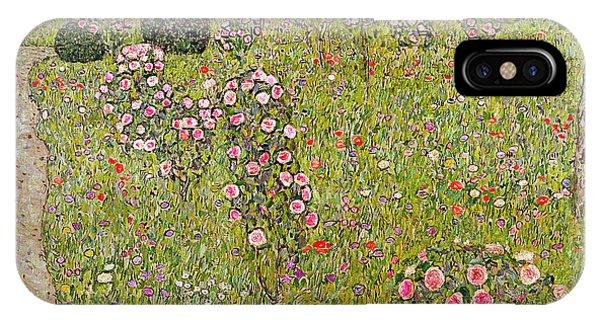 Orchard iPhone Case - Orchard With Roses Obstgarten Mit Rosen by Gustav Klimt