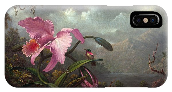 Humming Bird iPhone Case - Orchid And Hummingbird by Martin Johnson Heade