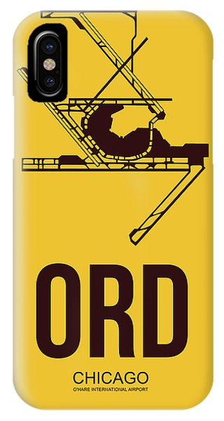Midwest iPhone Case - Ord Chicago Airport Poster 1 by Naxart Studio