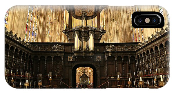 Wood Carving iPhone Case - Organ And Choir - King's College Chapel by Stephen Stookey