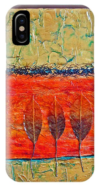IPhone Case featuring the mixed media Organic With Three Leaves by Phyllis Howard
