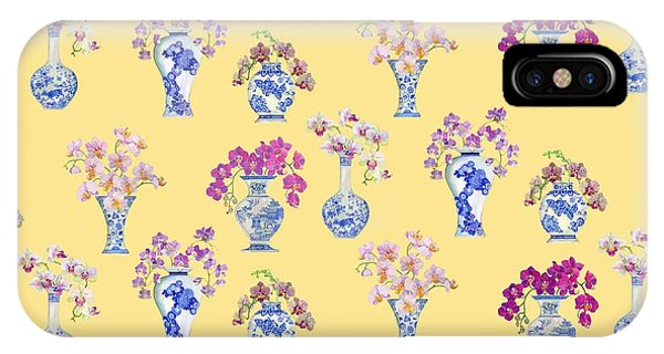Oriental Vases With Orchids IPhone Case