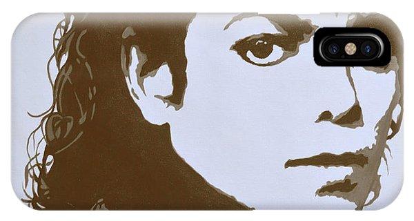 original black an white acrylic paint art- portrait of Michael Jackson#16-2-4-12 IPhone Case