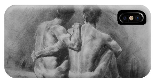 Original Drawing Sketch Charcoal Chalk Male Nude Gay Man Art Pencil On Paper By Hongtao IPhone Case