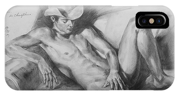 Original Drawing Sketch Charcoal Chalk Male Nude Gay Man On Sofa Art Pencil On Paper By Hongtao IPhone Case