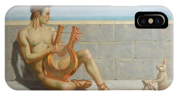 Original Oil Painting Gay Man Art-male Nude And Rabbit#16-02-5-41 IPhone Case