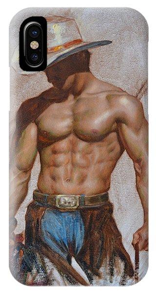 Original Oil Painting Gay Man Body Art-cowboy#16-2-5-19 IPhone Case