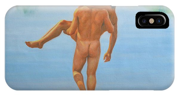 Original Oil Painting Man Body Art -male Nude By The Pool -073 IPhone Case