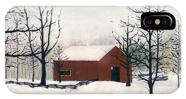 Original Painting Red Barn Snow Maryland IPhone Case