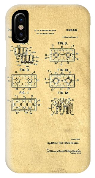 Bricks iPhone Case - Original Patent For Lego Toy Building Brick by Edward Fielding