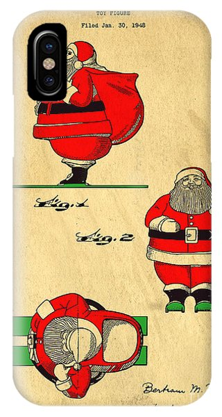 Original Patent For Santa On Skis Figure IPhone Case