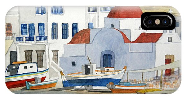 Watercolor - Mykonos Greece Detail IPhone Case