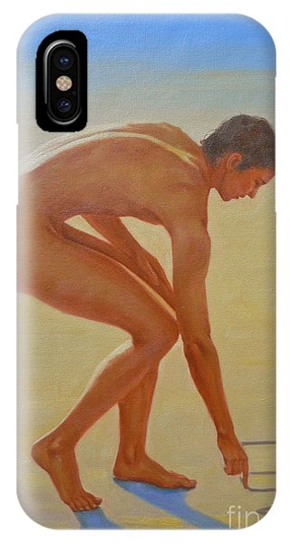 Original  Young Man Body Oil Painting  Gay Art - Male Nude By The Sea-055 IPhone Case