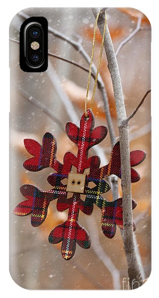 Ornament Hanging On Branch With Snow Falling IPhone Case