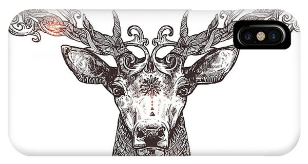 Beauty iPhone Case - Ornamental Tattoo Deer Head. Highly by Alex Rockheart