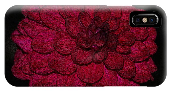 Ornate Red Dahlia IPhone Case